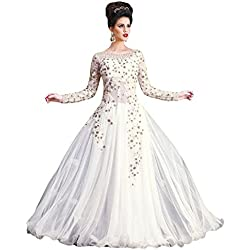Gown (White Colour Net Fabric Embroidered Wedding Style Gown For Women Party Wear)