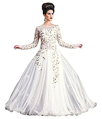 Queen Creation Women's Gown Semi-Stitched, White, Free Size