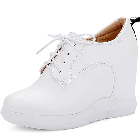 OALEEN- Chaussures Baskets Mode Femme à Lacets Low Boots Talon Compensées Plateforme Blanc 35