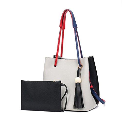 HQYSS Borse donna Spalla grande capacità nappe in pelle PU Decorato borsa multifunzionale classica benna regolabile Bag Tote Bag , E C