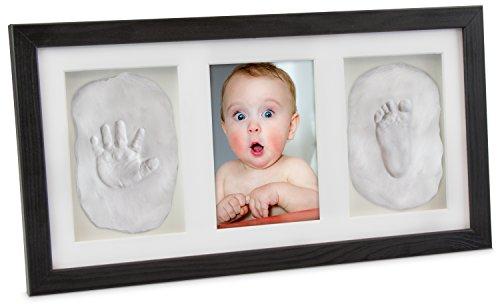 LAUBLUST - Baby Bilderrahmen für Handabdruck und Fußabdruck - Kiefer Schwarz 43 x 23 x 3 cm - Baby Abdruck Set zur Geburt -