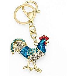 Hffan Damen Chinesische Kultur Tiermuster Huhn Chinesisches Tierzeichen Jahr des Hahnes Chinesische Art Schlüsselbund Exquisit Strasseinlage Schlüsselbund Schlüsselring (Blau)