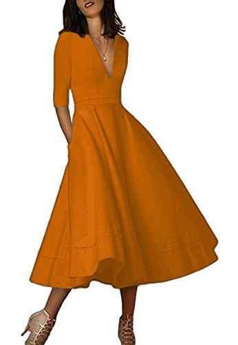 id V Ausschnitt Abendkleid Halb Arm Cocktailkleid Bronze XL ()