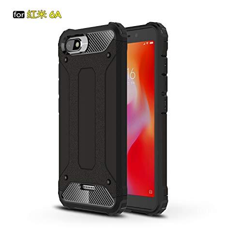 xinyunew Xiaomi Redmi 6A Funda, 360 Grados Protección +Vidrio Templado Protector Pantalla Silicona Caso Cover Case Carcasas TPU + plastico Anti Arañazos de Protectora - Negro