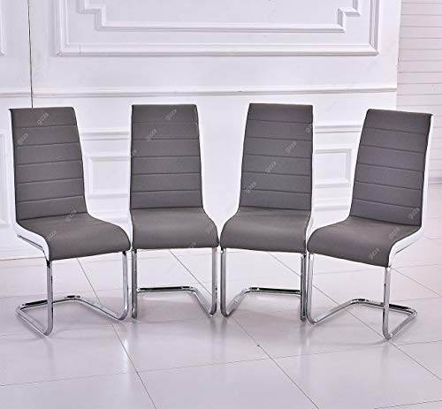 GIZZA Gray White Sides Faux Leather Dining Room Chairs Metal Chrome Legs High Back Kitchen Furniture(Set of 4)