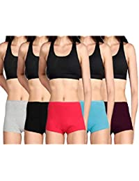 Lux Cozi Women's Cotton Boyshorts (Pack of 4) Color May Vary