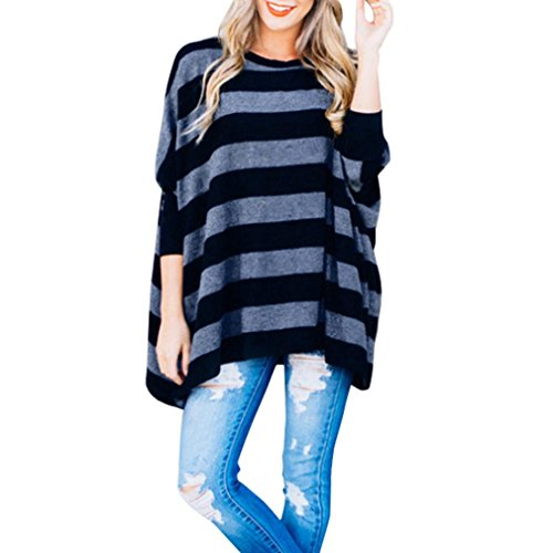 Overdose Women Top Batwing Sleeve O-Neck Striped Shirt Blouse