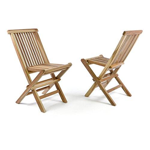 Divero 2er Set DIVERO Kinderstuhl Gartenstuhl Klappstuhl Holzstuhl - Teakholz Stuhl für Terrasse Garten - klappbar unbehandelt natur-braun