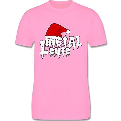 Weihnachten - Metal Leute - Weihnachtsmütze - L190 Herren Premium Rundhals T-Shirt Rosa