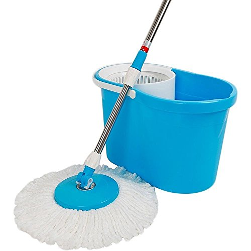 Easy Magic Floor Mop 360° Bucket 2 Heads Microfiber Spin Spinning Rotating Head (Color May Vary)