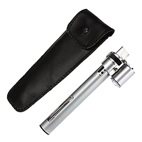 GOZAR 100X Bijoux Gem Handheld Pocket Led Light Microscope Loupe Pen Zoom