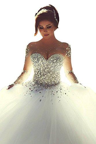 NUOJIA Damen Hochzeitskleider Langarm Tuell Nackenhals Luxus Brautkleider mit Perlen (40, Weiß)