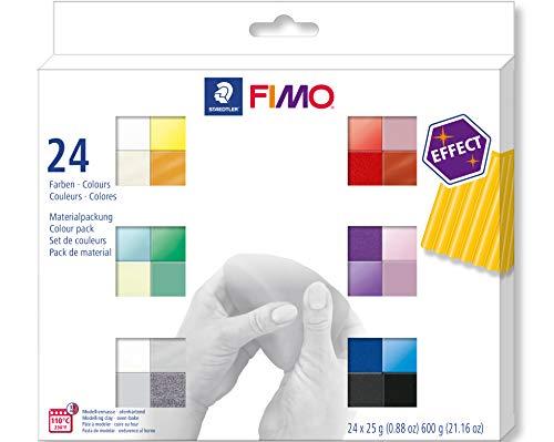 STAEDTLER- Pasta de modelar de endurecimiento al Horno, Multicolor, 24 Halbblöcke 8013 C24-1