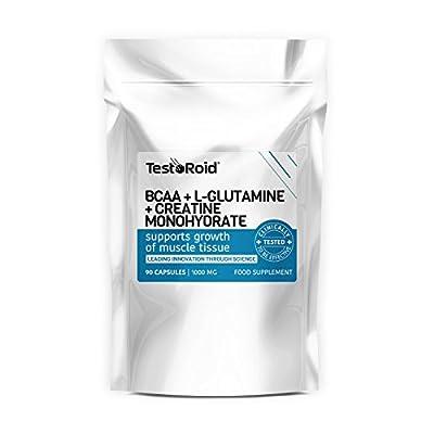 TestoRoid BCAA L-Glutamine & Creatine Explosive Combination Trio New Generation Body Building Supplements 1 Month Supply Top Quality British Product