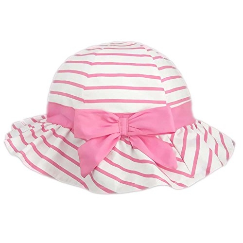 6 Mesi-5 Anni Gifts Treat Cappello da Bambina Cappello Estivo da Sole Boonie in Cotone Pieghevole con Grande Fiocco