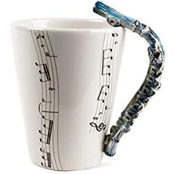 Flauta Taza de Café Hecho a Mano 8oz Azul (10cm x 8cm)