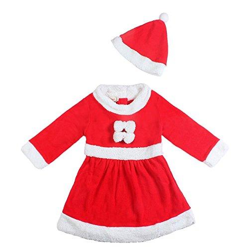 Sodial(r) bambino ragazze natale babbo claus vestito da costume e set di cappelli - rosso - 80 cm