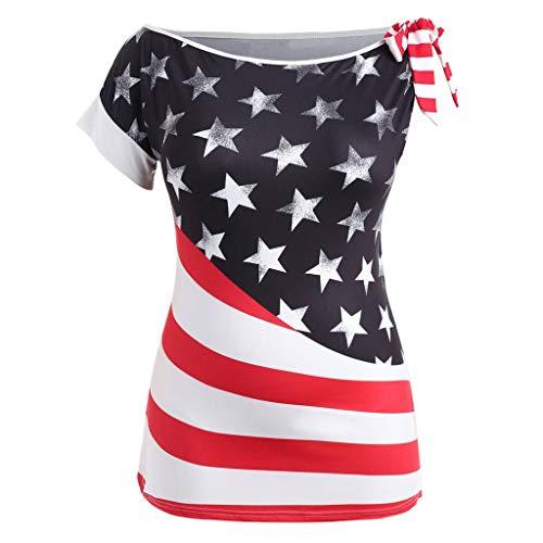 Cooljun Sommer Casual Tops Plus Size Mode Frauen Oansatz Amerikanische Flagge Gedruckt T-Shirt Kurzarm Bluse