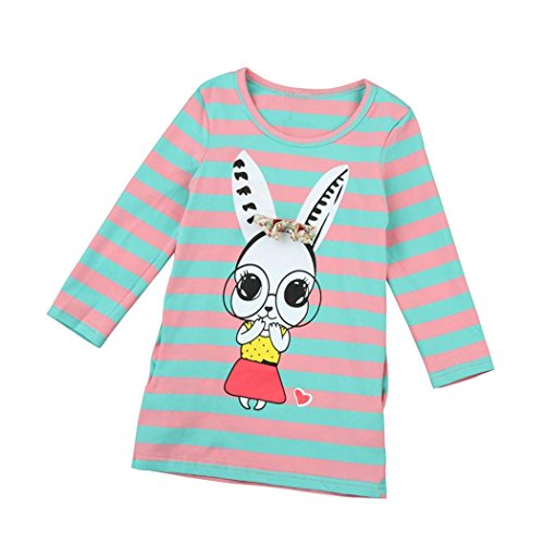 Longra Kinder Baby Mädchen Kleidung Langarm Streifen Bogen Druck-Kleid T-shirt-Kleid Oberseiten(2-7 Jahre) (120CM 5-6Jahre, Green) (Stretch-spitze Knit T)