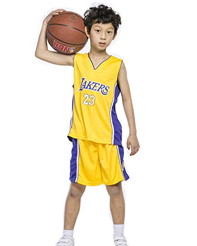 DEBND Kinder Madchen Basketball-Anzug-Sommer-Basketball-Uniform NBA Lakers #23 James Fan Edition # Jersey-Classic ärmelloses Top und Shorts - Classic Jersey Shorts