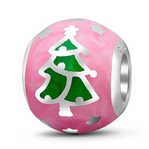 Soulbead Merry Albero Di Natale Ciondolo in argento Sterling 925con smalto colorato regalo di natale vacanza Bead per bracciale compatibile europeo gioielli Pink Enamel