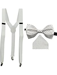 KYLON White Y-Back Suspender With Bow Tie & Pocket Square Combo For Men