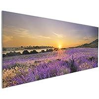 Wallario Selbstklebende Premium Türtapete Sonnenuntergang Lavendel Abend Blumen