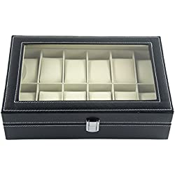 DoubleBlack Faux Leather 12 Slot Watch Box Display Case Jewelry Organizer Storage