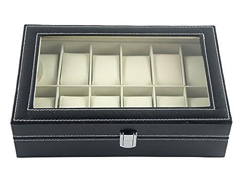 DoubleBlack Faux Leather 12 Slot Watch Box Display Case Jewelry Organizer Storage