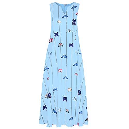 Haludock Damen Vintage Daily Beiläufige Sleeveless Gestreifte Schmetterling Gedruckt Sommer Lose Large Size Kleid
