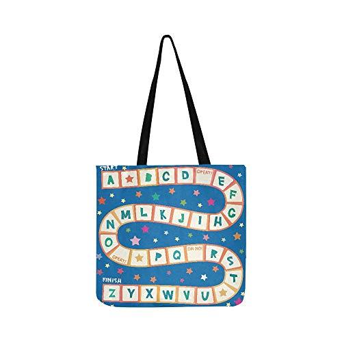 Funny Cartoon English Alphabet Spiel für Vorschulkinder Canvas Tote Handtasche Schultertasche Crossbody Taschen Geldbörse für Männer und Frauen Einkaufstasche