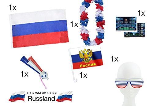 XXL Fanset Russland 1x Russlandfahne Russlandflagge Fahne Flagge 1x Blumenkette blau, weiß, rot, 1x Fantröte Tröte, 1x Autofahne Fahne Auto, 1x Partybrille Brille Fußball Weltmeisterschaft wm 2018