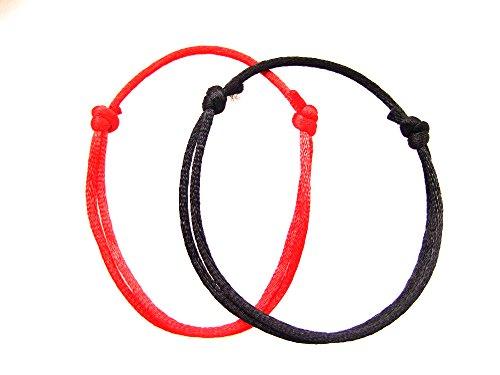 2braccialetti: 1 rosso e 1nero Akai Ito filo rosso del destino Kabbale, fatti a mano, (Mano A Filo)