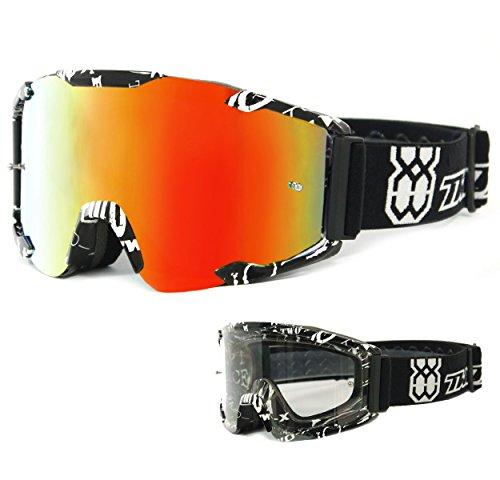 TWO-X Bomb Crossbrille Text Glas verspiegelt iridium - MX Brille Motocross Enduro Spiegelglas Motorradbrille Anti Scratch MX Schutzbrille