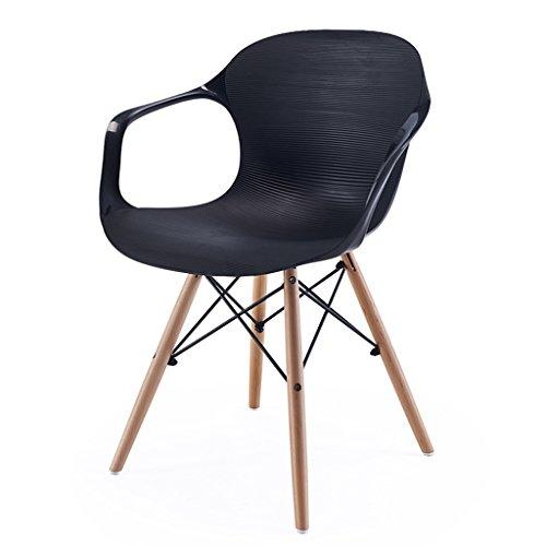 CKH Home Stuhl Esszimmerstuhl Moderne Freizeit Stühle Rückenlehne Kunststoff Stuhl Einfache US Stühle - Leiter Schwarz Schreibtisch