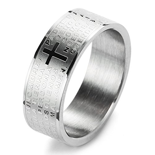 MunkiMix Edelstahl Ring Band Silber Ton Bibel Herr Gebet Kruzifix Kreuz Größe 62 (19.7) Herren
