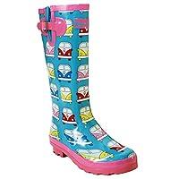 A&H Footwear Ladies Womens New Wide Calf Adjustable Snow Rain Mud Festival Waterproof Wellington Boots Wellies UK 3-8 (Maximum Calf Width 42 cm) (UK 6, Camper Van)