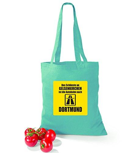 Artdiktat Baumwolltasche Das Schönste an Gelsenkirchen ist die Autobahn nach Dortmund cornflowerblue mint