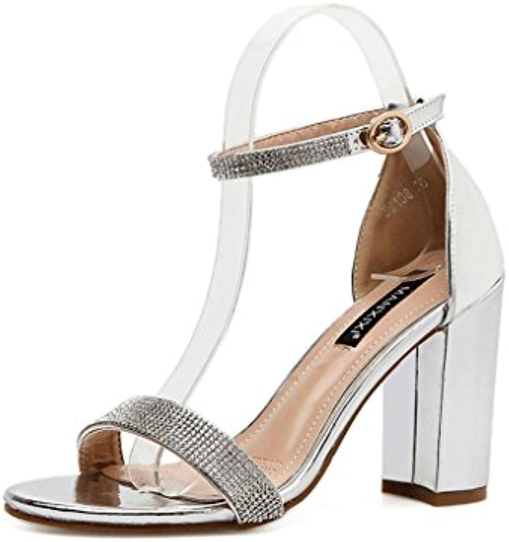 GLLX HJHYreg Sexy Starke Fersenschnalle Sandalen Offene Sandalen (Farbe : Silber  Größe : 37)