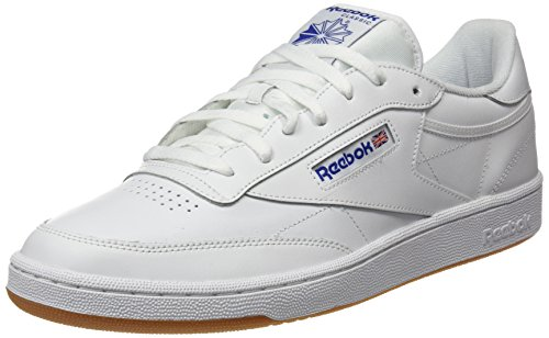 Reebok Club C 85, Bas Homme - Blanc (Int-White/Royal-Gum), 43 EU