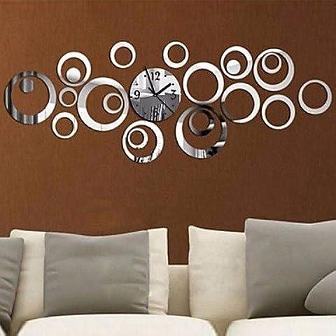 SQL 3d arredamento fai da te acrilico anello Specchio adesivo farfalla parete orologio . silver - Quarzo Contemporaneo Anello