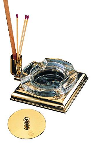 Cenicero El Casco M760L,cristal y oro de 23 quilates, con tapa