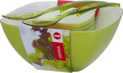 Emsa 509824 vienna set da insalata, 6 pezzi, melamina, verde chiaro