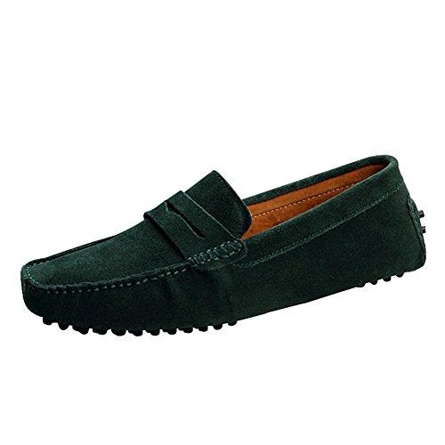 Mocassins homme chaussures a crampons vert fonce