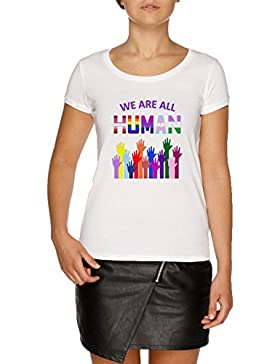 Jergley We Are All Human LGBT Gay Rights Pride Ally Camiseta Blanco Mujer | Women's White T-Shirt