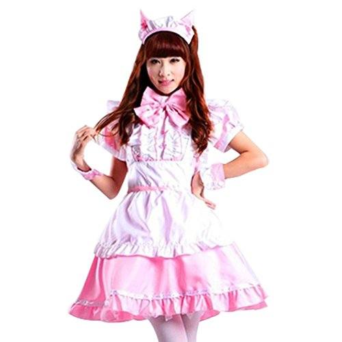 ourlove Fashion Damen Cosplay Katze Ohr French Maid Erwachsene Kleid Halloween-Kostüm Gr. 36, rose