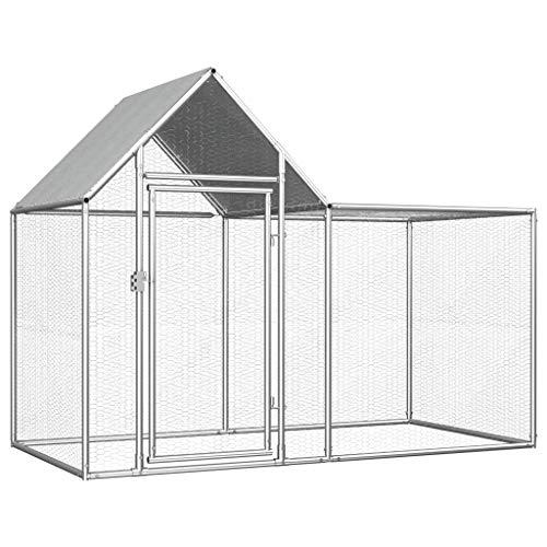 Tidyard pollaio grandi in acciaio zincato, con tetto impermeabile, gabbia da esterno, pollaio per polli, galline, anatre, oche, ecc, argento 2x1x1,5 m