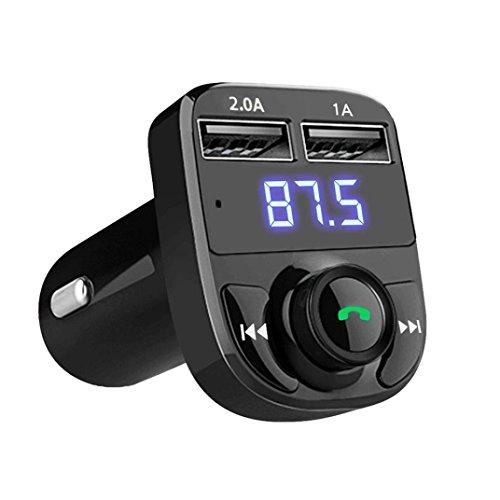 Amlaiworld Schwarz Digitale Kfz-Einbausatz MP3-Player LCD Bildschirm USB-Ladegerät Musik player Urlaub Tragbare Hände frei Kabellos Bluetooth FM Transmitter Elektronisch Wireless KFZ Audio Radio Adapter (Schwarz)