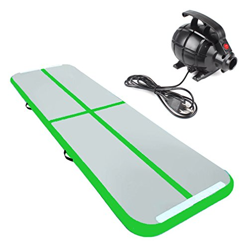 Rolimate 10x3.3x0.3 Feet Inflatable Airtrack Tumbling Gymnastic/Yoga/Taekwondo/water floating/Camping Training Mat with 400W Electrical Pump and Includes Carry Bag (Excellent Gift to Daughter) (Grün, 300*90*10cm)