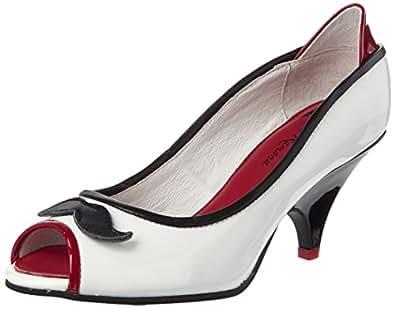 Lola Ramona Lola, Escarpins Bout Ouvert Femme, Ecru (Black/Red/Cream 44), 39 EU